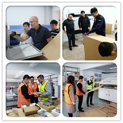 customer visiting in box machine factory